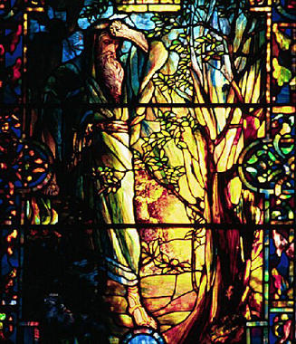 Moses and the burning bush, Tiffany stained glass