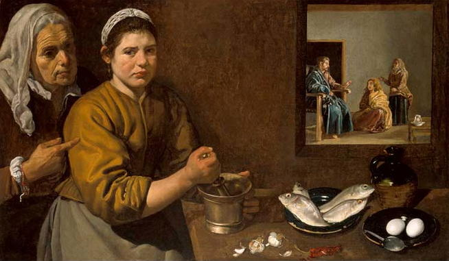 Diego Velasquez, <em>Christ in the House of Martha and Mary</em> (1618)