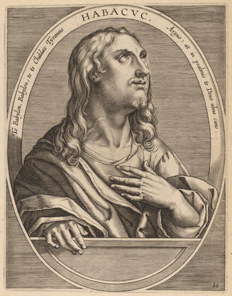 an engraving depicting the prophet Habakkuk, from 1613, by Theodor Galle after Jan van der Straet