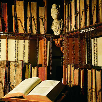 photo of a chained library